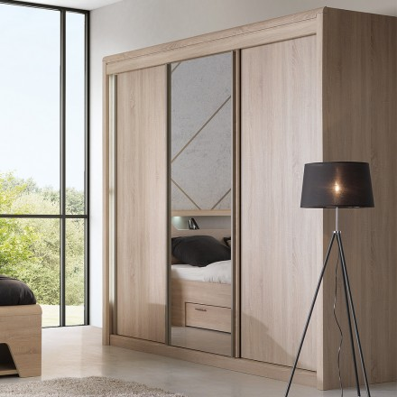 Armoire 3 Portes Coulissantes Chene Clair Multy