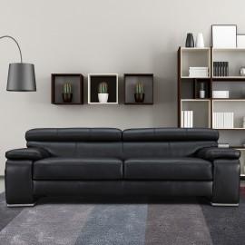 Canapé 3 places cuir noir Baldwin