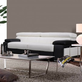 Canapé 3 places cuir noir et blanc Baldwin