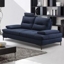 Canapé 2 places tissu bleu Spalding