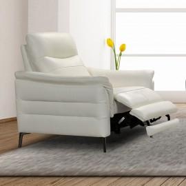 Fauteuil cuir blanc cassé relax électrique Otero