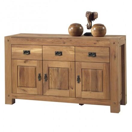 Buffet 3 portes 3 tiroirs chêne huilé Lodge