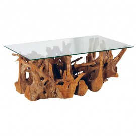 Table basse rectangulaire décorative en teck Roots