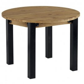Table ronde avec allonge pin brossé Lugano