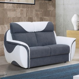 Canapé 2 places cuir et tissu Corinna