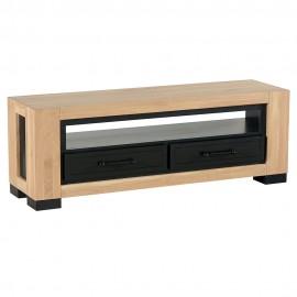 Meuble TV 140cm 2 tiroirs chêne huilé CLEVELAND