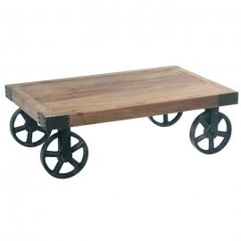 Table basse sur roulettes en orme CROSS