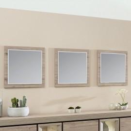 Lot de 3 miroirs en mélaminé gris BELLUNO