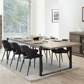 Table lof avec allonge en mélaminé brun BELLUNO
