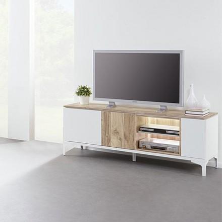 Meuble TV en mélaminé chêne et blanc VERANO