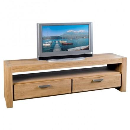 Meuble TV 180cm 2 tiroirs Bornéo en teck