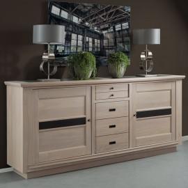 Buffet 3 portes 1 tiroir Beline chêne massif blanchi