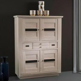 Rangement 4 portes 1 tiroir Beline chêne massif blanchi