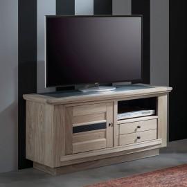 Meuble TV 120cm Belem chêne massif blanchi