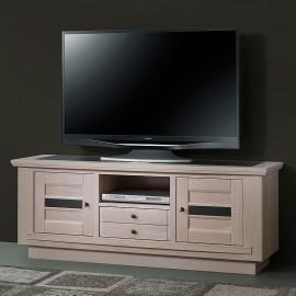 Meuble TV 160cm Beline chêne massif blanchi