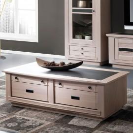 Table basse 2 tiroirs Belem chêne massif blanchi