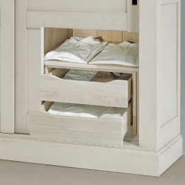 Option tiroir armoire 2 portes chêne massif Romane