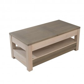 Table basse rectangulaire Chaulnes finition blanchie